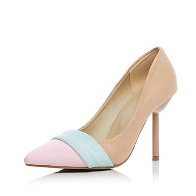 Mulheres Sapatos Flanelado Verão Outono Saltos Salto Agulha Combinação para Casual Escritório e Carreira Bege Amarelo