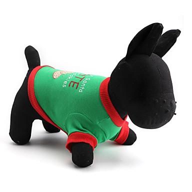 חתולים / כלבים טי שירט ירוק בגדים לכלבים קיץ/אביב חג מולד