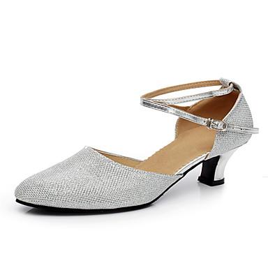 Dame Moderne dansesko Glimtende Glitter / Paillette / Syntetisk Sandaler / Hæle / Sneaker Glimtende glitter / Spænde / Draperet Cubanske hæle Kan ikke tilpasses Dansesko Grå / Brun / Gylden / Ydeevne
