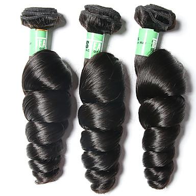 3 paquetes Cabello Brasileño Ondulado Amplio Cabello Virgen Tejidos Humanos Cabello Cabello humano teje Suave Extensiones de cabello humano