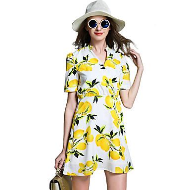 A-linje / Chiffon Dress Strand Bohem Kvinner,Blomstret V-hals Ovenfor knéet Kortermet Gul Bomull / Polyester Alle sesonger