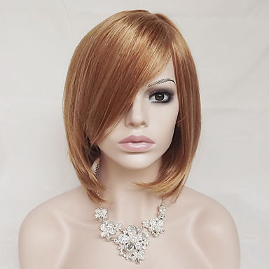 Synthetic Wig Women's Straight Blonde With Bangs Synthetic Hair Blonde Wig Short Capless Strawberry Blonde / Light Blonde