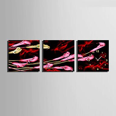 コンテンポラリー フローラル 壁時計,方形 キャンバス 40 x 40cm(16inchx16inch)x3pcs/ 50 x 50cm(20inchx20inch)x3pcs/ 60 x 60cm(24inchx24inch)x3pcs 屋内 クロック