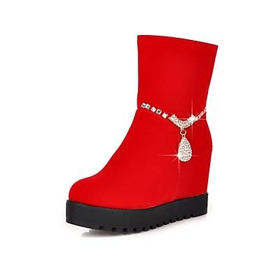 Damen-Stiefel-Büro Lässig-Vlies-KeilabsatzSchwarz Rot
