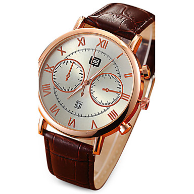 Homens Relógio Militar Relógio Elegante Quartzo Calendário Impermeável / Couro Banda Casual Preta Marrom