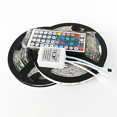 z®zdm 10m 150x5050 vanntett smd RGB LED stripe lys 44key fjernkontroll 1bin2 forbindelseslinje (DC12V)