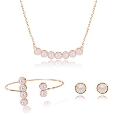 Damen Schmuck-Set - Einstellbar Einschließen Halskette / Armband / Halskette / Ohrringe Golden Für Hochzeit / Party / Alltag / Halsketten