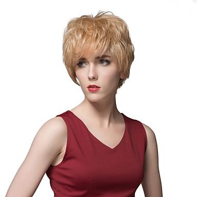 quente elegante curto cabelo humano sem tampa peruca reta 4 polegadas