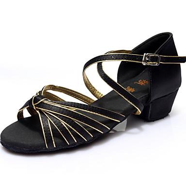 Women's Latin Satin Leatherette Silk Sandal Indoor Buckle Customized Heel Silver Brown Blue Gold Fuchsia 1