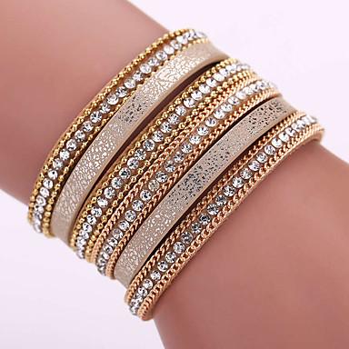 Femme Cuir Strass Imitation Diamant Adorable Bracelets en cuir Bracelets - Luxe Bohème Fait à la Main Forme Géométrique Or Noir Bleu