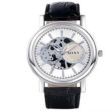 SOXY Masculino Relógio Elegante Relógio Esqueleto Quartzo / Couro Banda Legal Casual Preta