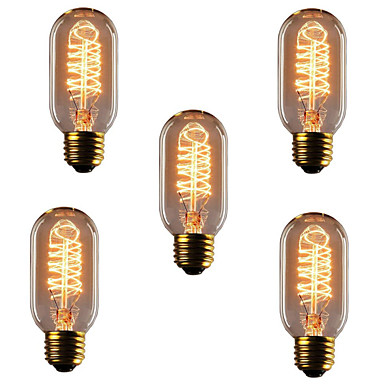 5pcs 40W E26 / E27 T45 Blanco Cálido 2300k Retro / Regulable / Decorativa Bombilla incandescente Vintage Edison 220-240V
