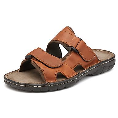 Homens sapatos Pele Napa Primavera Verão Outono Conforto Chinelos e flip-flops Colchete para Casual Ao ar livre Preto Marron