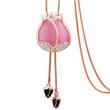 נשים שרשראות תליון קריסטל אבן יקרה סגסוגת מסיבה עבודה יום יומי שכבה כפולה אופנתי תכשיטים עבור יומי קזו'אל