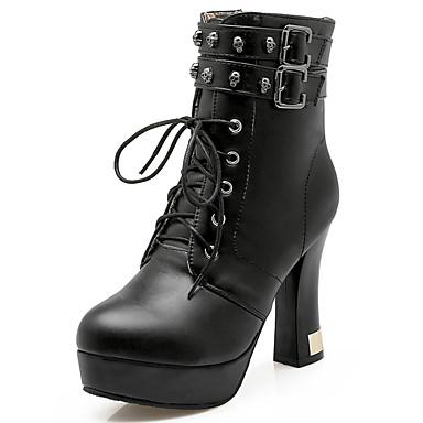 Damen Schuhe Kunstleder Winter Herbst High Heels Stiefel Blockabsatz Plattform 10,16 - 15,24 cm ca. Booties / Stiefeletten Niete