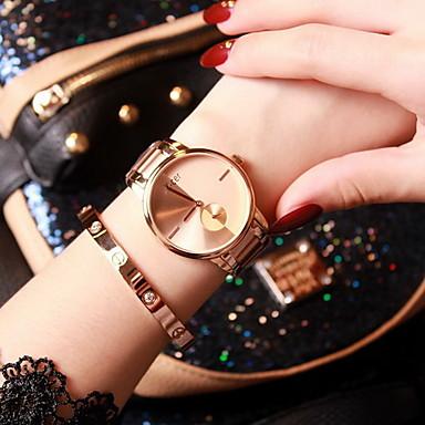 Damen Modeuhr Quartz Japanischer Quartz Armbanduhren für den Alltag Edelstahl Band Rotgold