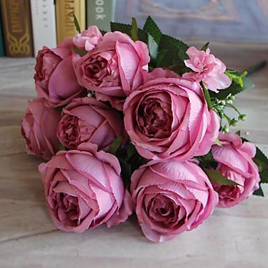1 1 ענף פוליאסטר / פלסטיק ורדים פרחים לשולחן פרחים מלאכותיים 22.4*3.9inch/57*10cm