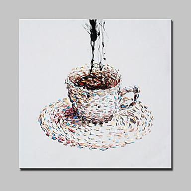 יד מצוירי כוס שמן בד קפה ציור קיר אמנות מודרנית מופשטת עם מסגרת מתוח מוכנה לתלות