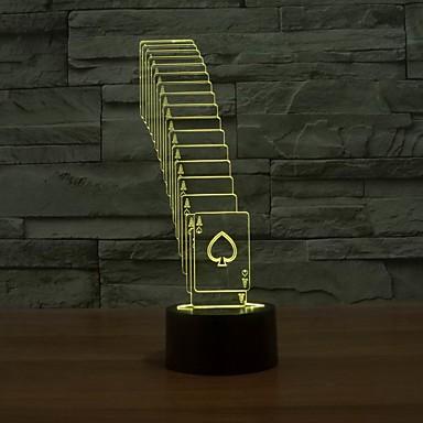 especial de poker dobrável 3d tira conduzida mudança 7color mesa de luz luz da mesa mudam de cor luz da noite