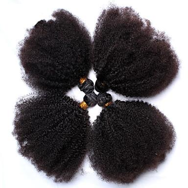baratos Extensões de Cabelo Natural-4 pacotes Cabelo Mongol Afro Kinky Curly 8A Cabelo Humano Cabelo Humano Ondulado Tramas de cabelo humano Extensões de cabelo humano / Crespo Cacheado