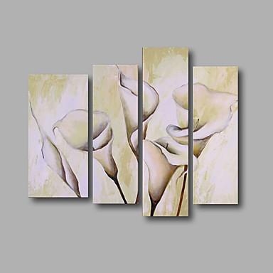 Handgemalte Blumenmuster/Botanisch Modern,Vier Panele Leinwand Hang-Ölgemälde