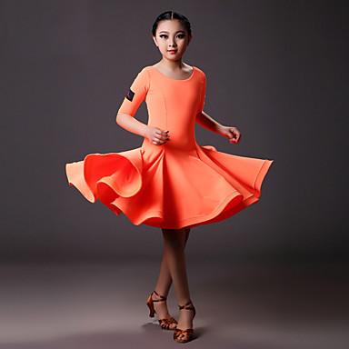 Latin Dans Kjoler Barne Trening Elastan Drapert 1 Deler Halv-ermet Naturlig Kjole