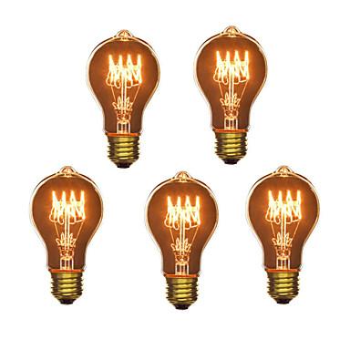 abordables Ampoules électriques-5pcs 40W E26 / E27 A60(A19) Blanc Chaud 2300k Rétro / Intensité Réglable / Décorative Ampoule incandescente Edison Vintage 220-240V