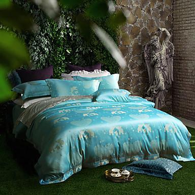 Blumen Bettbezug-Sets 4 Stück Seide/Baumwolle Luxuriös Jacquard Seide/Baumwolleca. 1,50 m breites Doppelbett / ca. 1,90 m breites