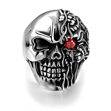 Homens Anel - Aço Inoxidável Caveira Punk, Europeu 8 / 9 / 10 Prata Para Halloween / Presente / Diário
