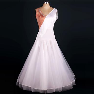 Danse de Salon Tenue Femme Spectacle Satin soyeux élastique Organza Ruché 1 Pièce Sans manche Taille moyenne Robe