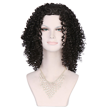 Pelucas sintéticas Rizado Con flequillo Pelo sintético Peluca Mujer Media Sin Tapa