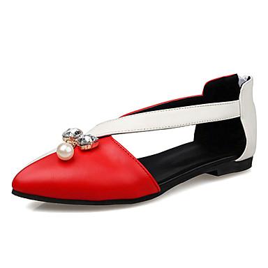 Mulheres Sapatos Courino / Couro Ecológico Primavera / Verão / Outono Bailarina Rasos Sem Salto Cristais / Pérolas / Ziper Preto /