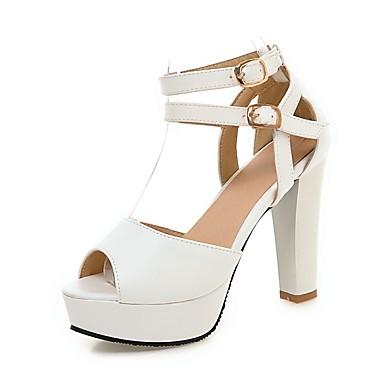 kvinners sko pu sommer / høst hæler / peep toe sandaler kontor&karriere / uformell chunky hæl spenne svart / rosa / hvit