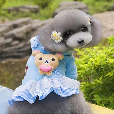 Σκύλος Φούτερ με Κουκούλα Φορέματα Ρούχα για σκύλους Αρκούδα Μπλε Ροζ Πολική Προβιά Στολές Για κατοικίδια Γυναικεία Χαριτωμένο Μοντέρνα