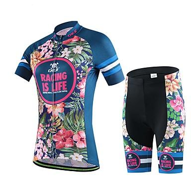 Mulheres Manga Curta Camisa com Shorts para Ciclismo - Azul Escuro Moto Respirável, Redutor de Suor
