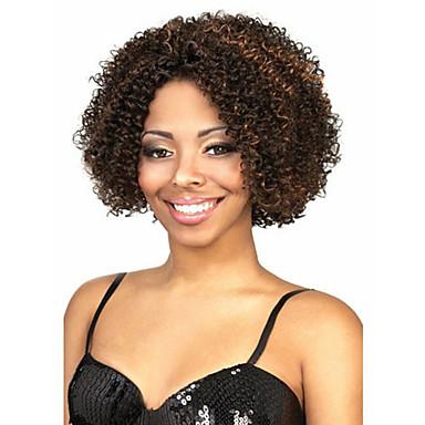 שיער סינטטי פאות מסולסל ללא מכסה פאה שחורה