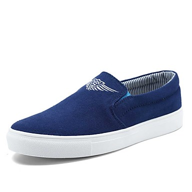 Damen-Flache Schuhe-Lässig-Leinwand-Flacher AbsatzSchwarz Blau Weiß Beige