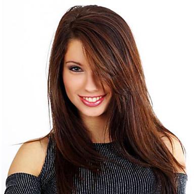 Pelucas sintéticas Recto / Liso Natural Con flequillo Pelo sintético Peluca Mujer Sin Tapa Marrón Oscuro