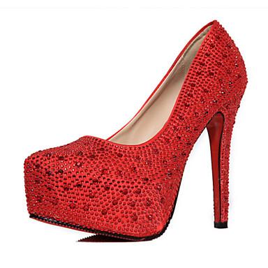 Feminino Saltos Couro Ecológico Verão Casual Gliter com Brilho Salto Grosso Prata Vermelho 10 a 12 cm
