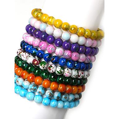 Bracelets de rive Mode Verre Rond Bijoux Quotidien Décontracté Sports Bijoux de fantaisie Vert Rose Bleu/Vert Bleu clair Blanc/Marron