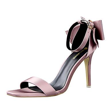 女性-カジュアル-シルク-スティレットヒールヒール-ブラック ピンク パープル レッド グレイ