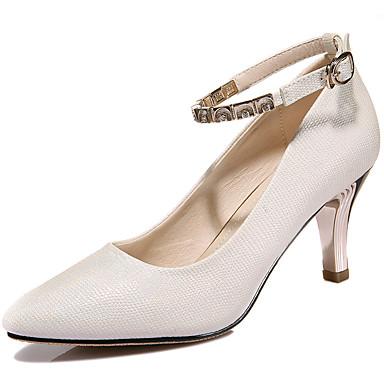 Feminino Sapatos Courino Primavera Saltos Salto Baixo Gliter com Brilho Para Casamento Festas & Noite Bege Roxo