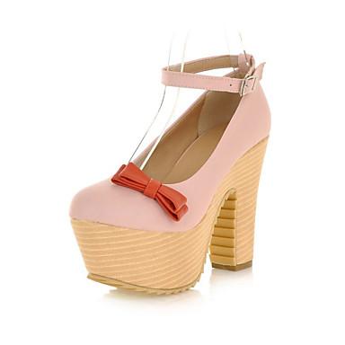 Mulheres Sapatos Courino Primavera Verão Outono Inverno Salto Robusto Plataforma Laço Presilha para Casual Escritório e Carreira Social