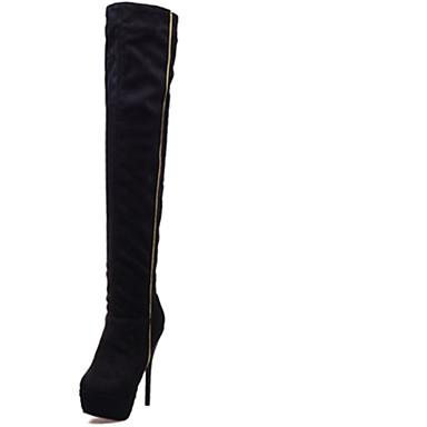 la 8 Noir à Talon gt;50 Chaussures Bleu Cuissarde Bourgogne Bottes Femme Hiver 05107107 cm Bottes Plateau Mode Aiguille Similicuir gZH7X