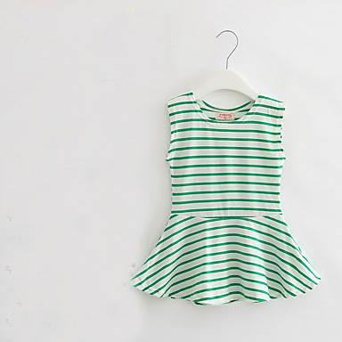 baratos Vestidos para Meninas-Bébé Para Meninas Listras Diário Estampado Sem Manga Vestido Verde / Algodão