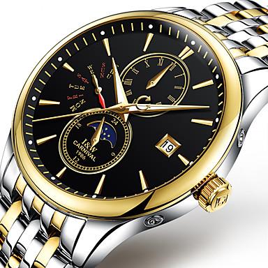 Carnival Heren Modieus horloge mechanische horloges s Nachts oplichtend Maanfase Automatisch opwindmechanisme Roestvrij staal BandCool