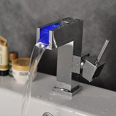 Moderne Centersat LED Keramisk Ventil Et Hull Enkelt Håndtak Et Hull Krom, Baderom Sink Tappekran