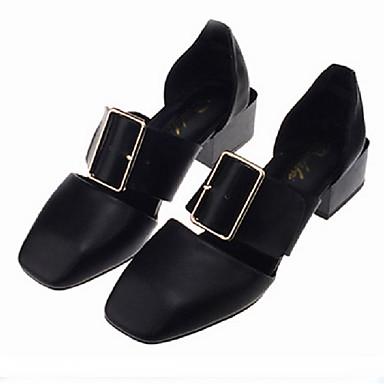 kvinners sko pu chunky hæl hæler / firkant Sandaler utendørs / kjole svart / hvit