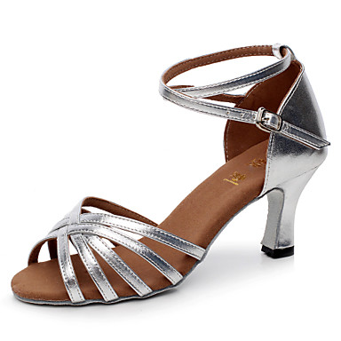 Women's Latin Satin Leatherette Sandal Buckle Customized Heel Black and Gold Black Silver Brown Gold Customizable