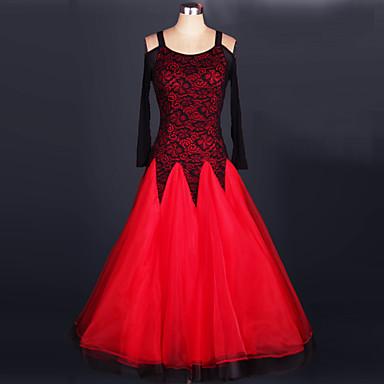 Aufführung Austattungen Damen Leistung Elasthan / Organza Gerafft Langarm Normal Kleid / Moderner Tanz